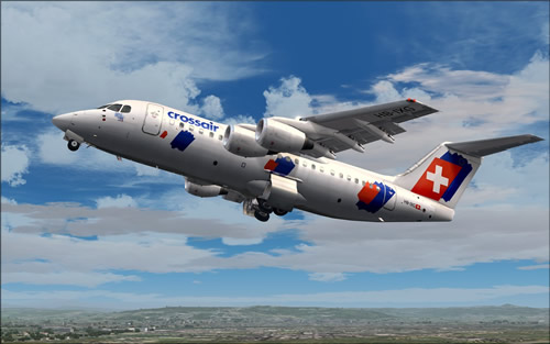 QualityWings Avro RJ85 Crossair HB-IXG Old Colors FS9.