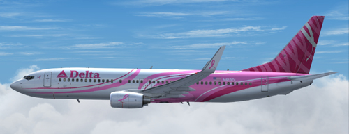 FS9 Delta B737-800 Breast Cancer livery